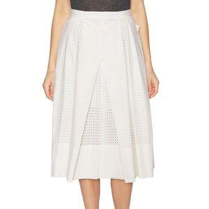 Tibi Riko Eyelet Origami Skirt White NWT